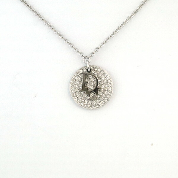 Christian Dior Dior Round Logo Necklace Women's Accessories Silver Plated