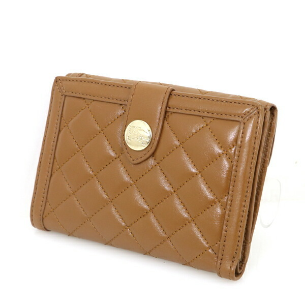 Burberry BURBERRY brown leather quilted bi-fold wallet ladies