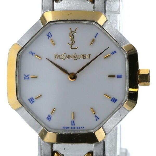 Yves Saint Laurent Octagon Combi 2200-26313 Quartz White Dial Ladies Watch