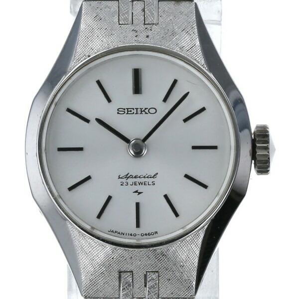 Seiko SEIKO antique 23 stones 1140-0220 hand-wound silver dial ladies watch