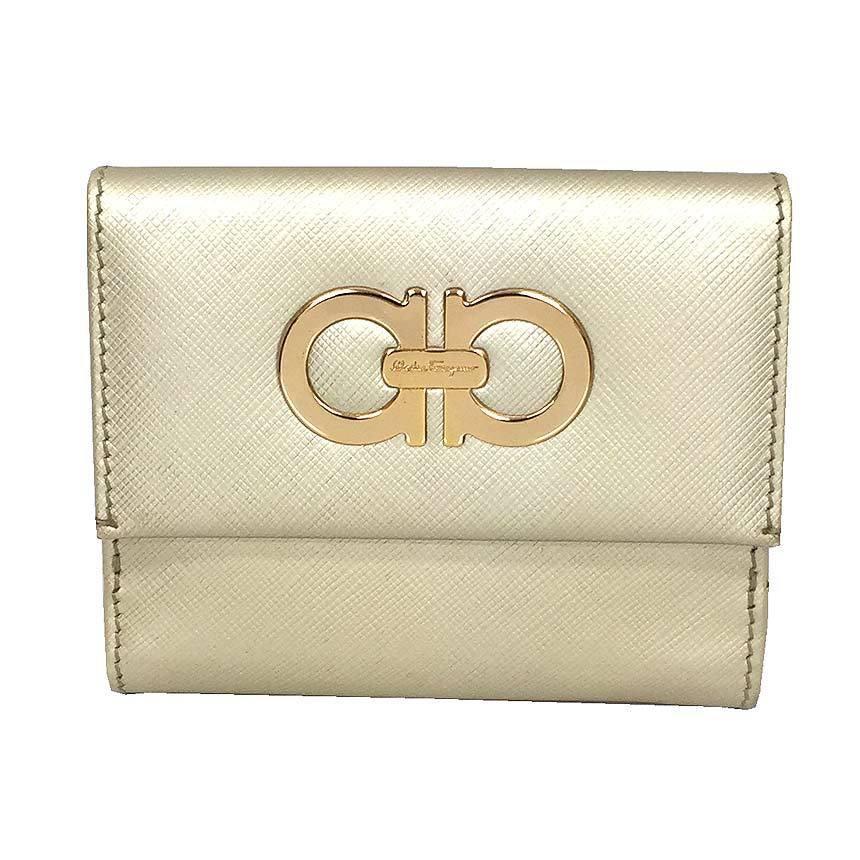 Salvatore Ferragamo Folded Wallet Gancini Leather Champagne Gold Ladies