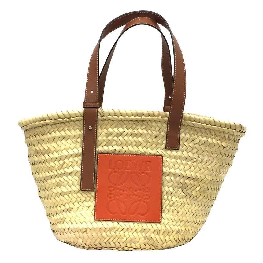 Loewe LOEWE Basket Bag Medium 327.02.S92 Baskets Tote Handbag Palm Leaf / Calf