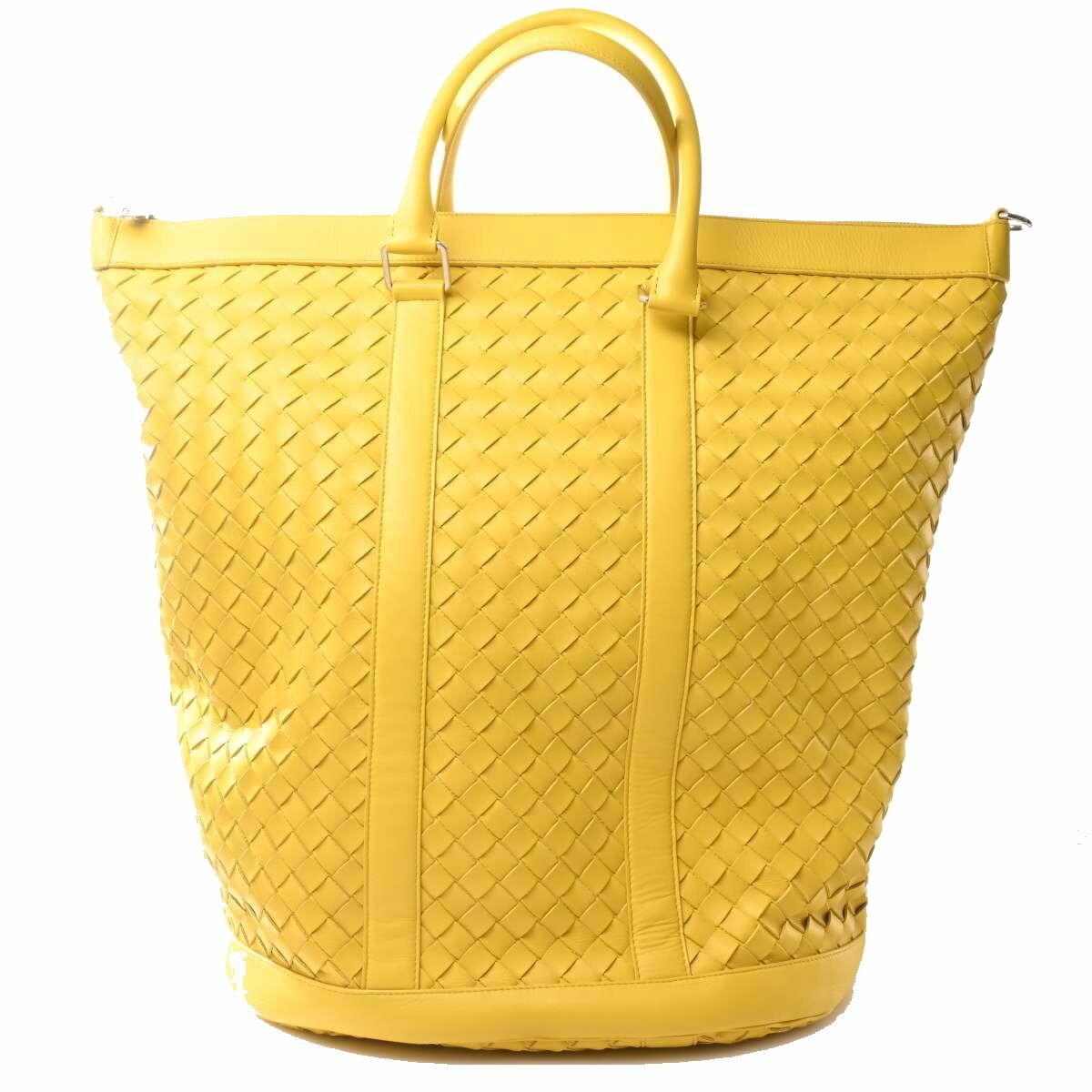 Bottega Veneta Intrecciato Leather Boston Bag Tote Yellow
