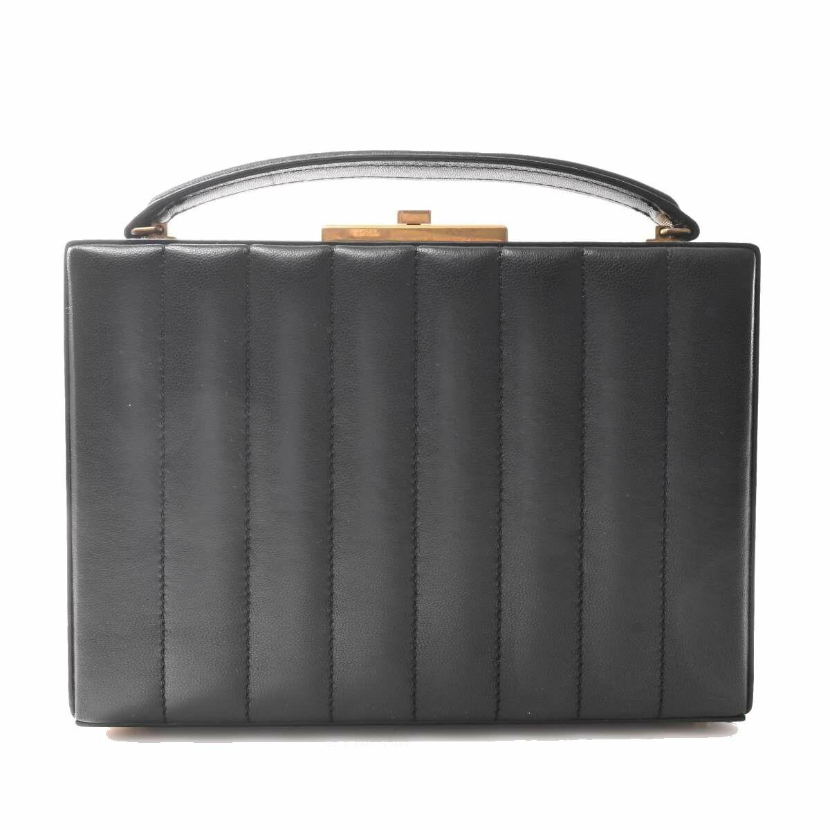 Saint Laurent Leather Mini Trunk Box 2WAY Handbag Black