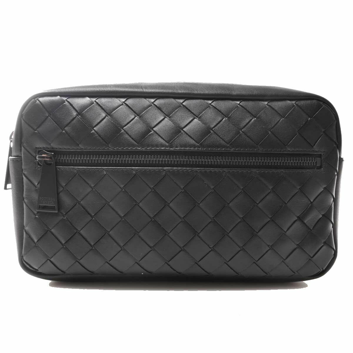 Bottega Veneta Leather Intrecciato Waist Bag Black