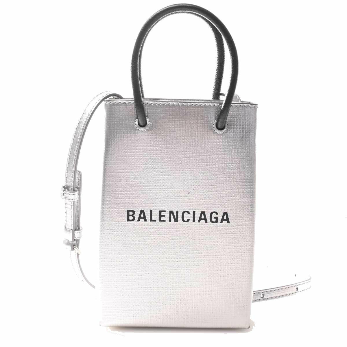 Balenciaga Leather Shopping Phone Holder Bag Handbag Silver