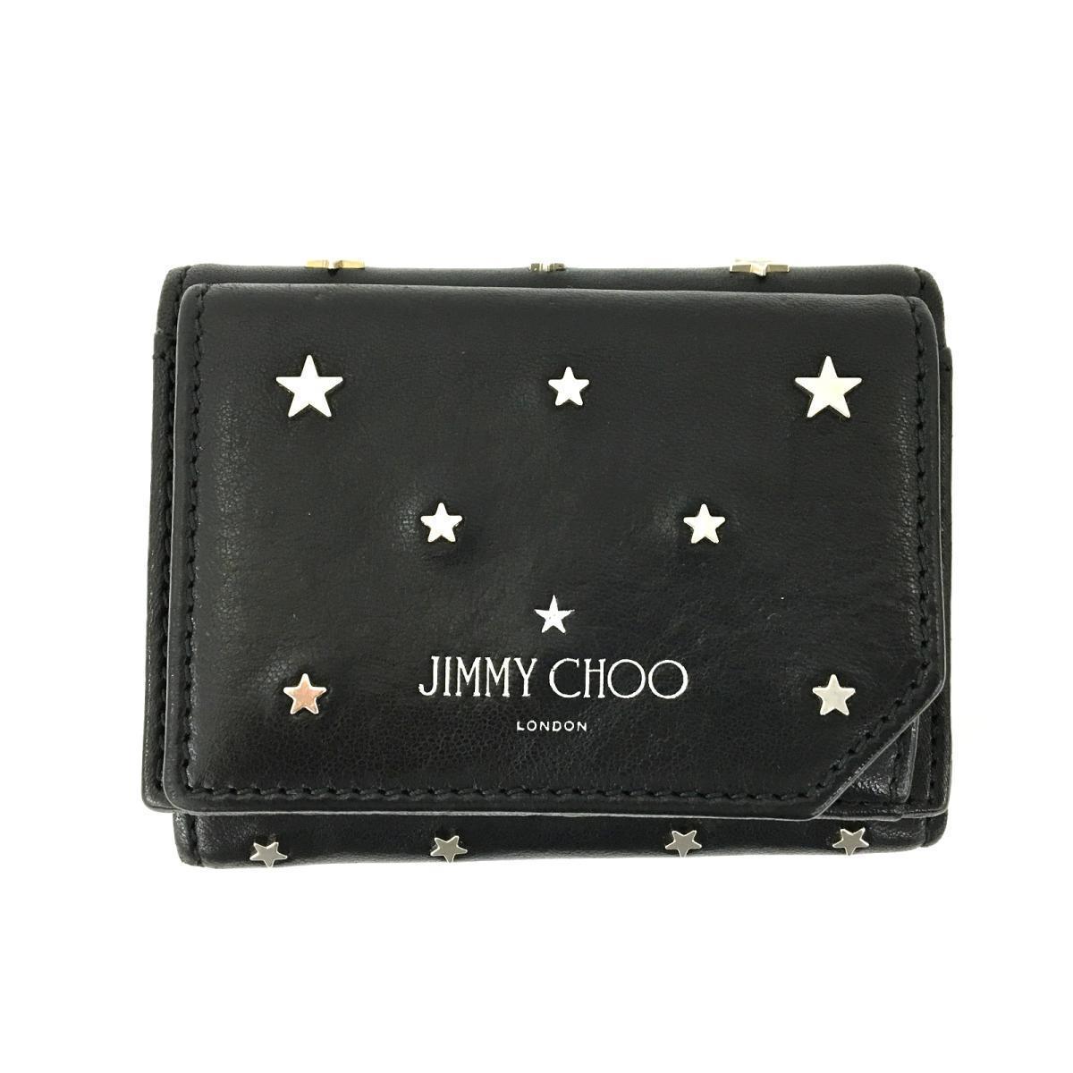 JIMMY CHOO Star Studs Wallet Tri-Fold Women's Men's Black Leather