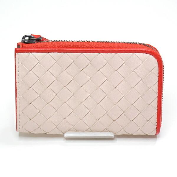BOTTEGA VENETA Coin Case Card Nappa Leather Intrecciato Pink Red