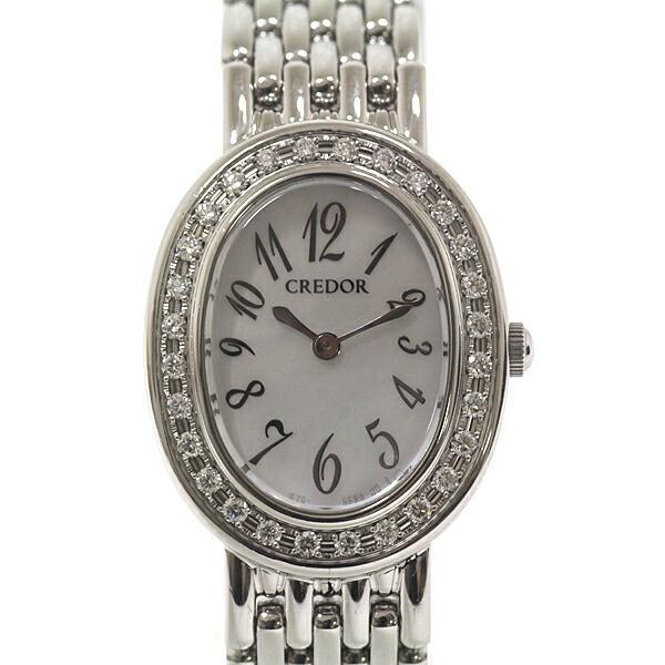 SEIKO Seiko Ladies Watch Credor GSTE917 White Shell Dial Bezel Diamond Quartz