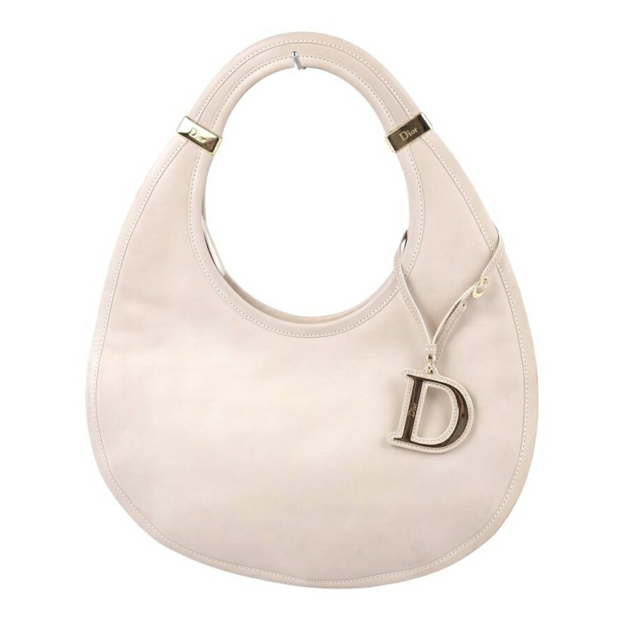 Christian Dior D metal fittings leather tote ladies round type light beige