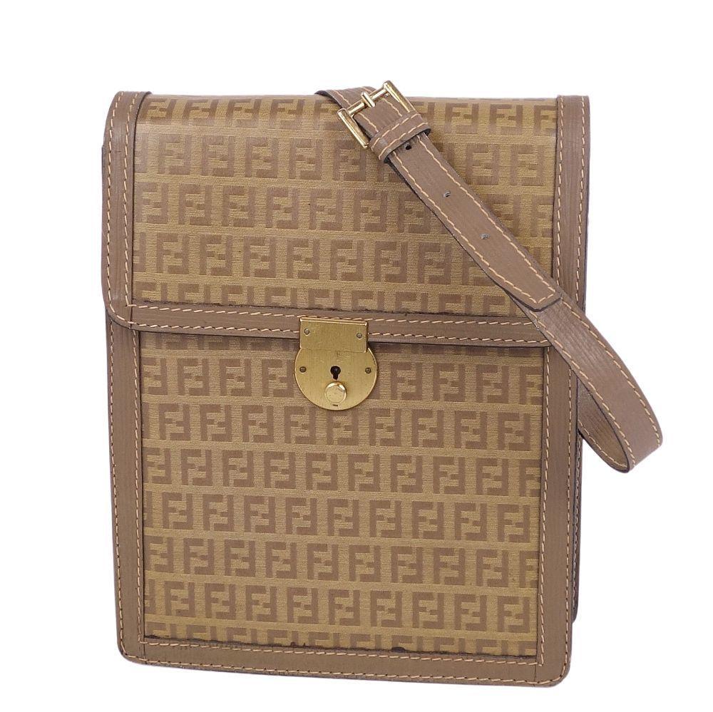 FENDI Zucca pattern key lock shoulder crossbody ladies brown