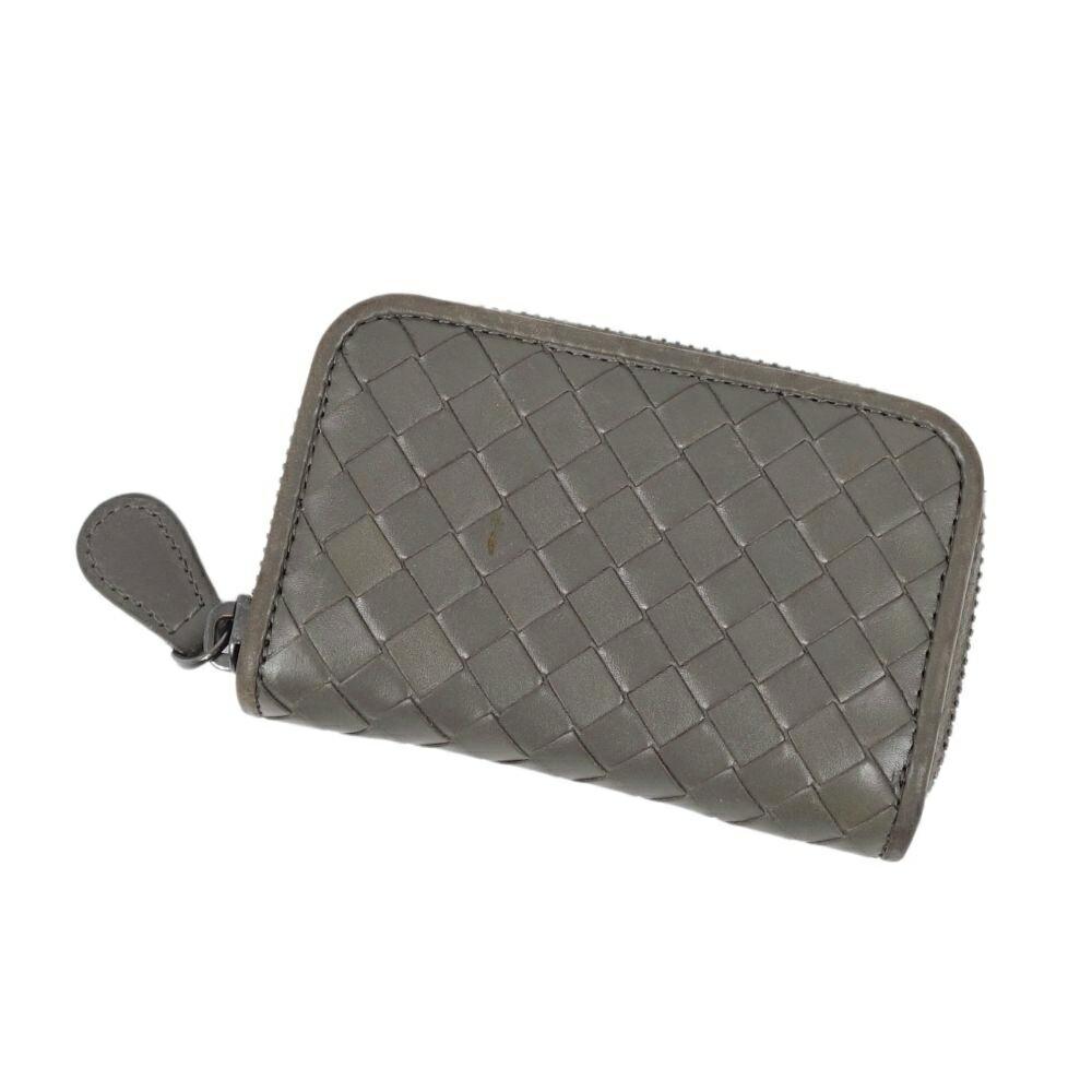 BOTTEGA VENETA Intrecciato Coin Purse Gray Leather Wallet