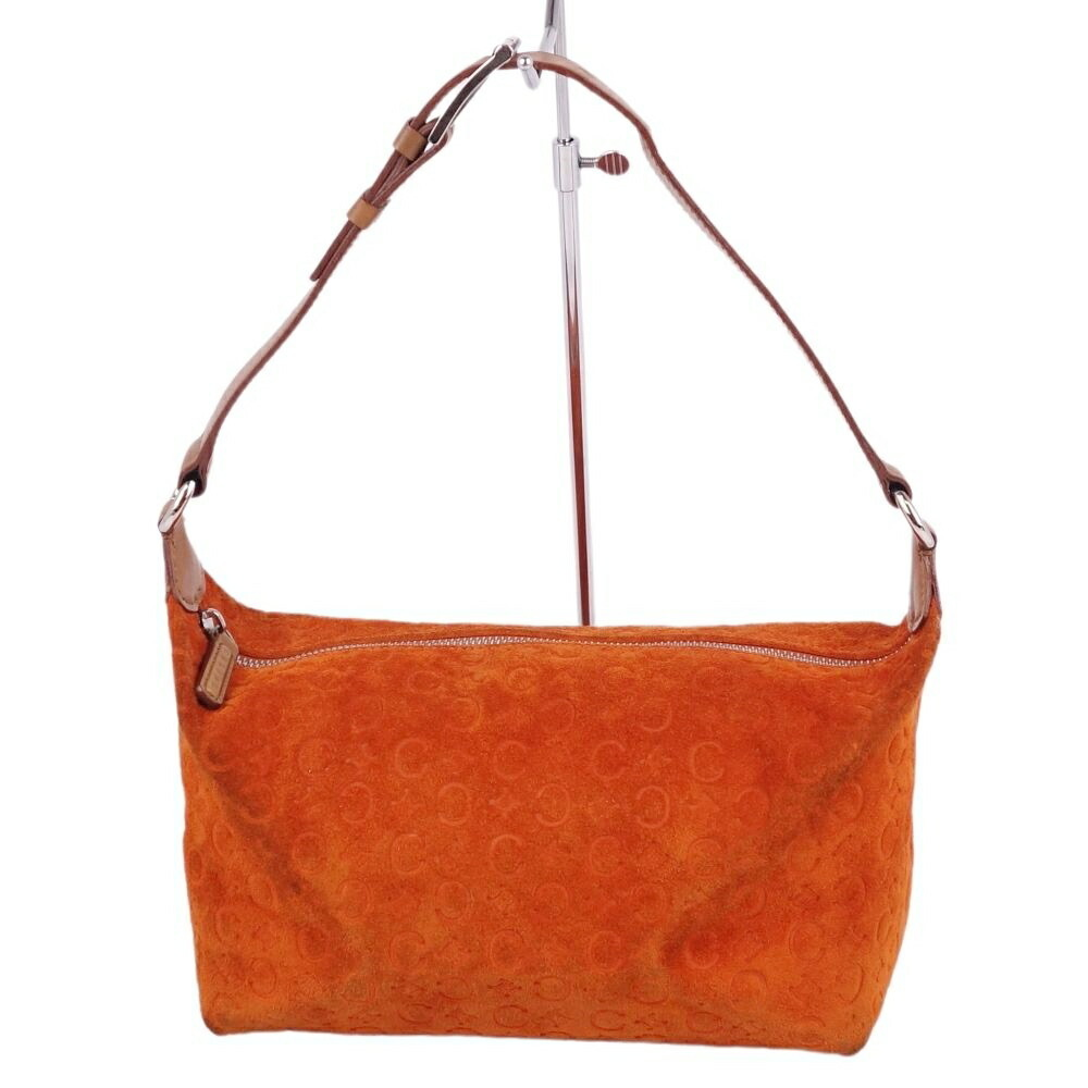 Celine CELINE Saluki C Macadam Semi-shoulder Women's Suede Leather Orange