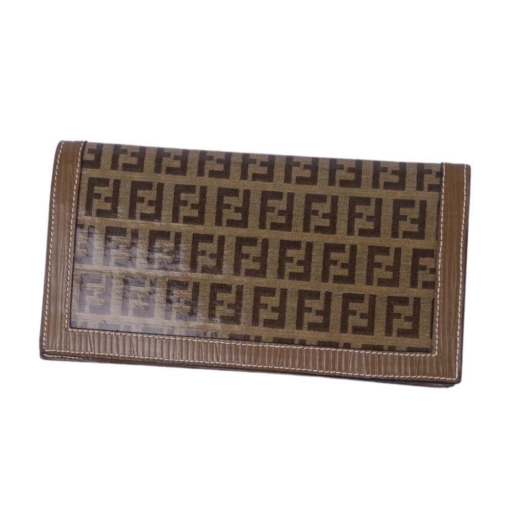 FENDI Zucca pattern long wallet leather brown ladies