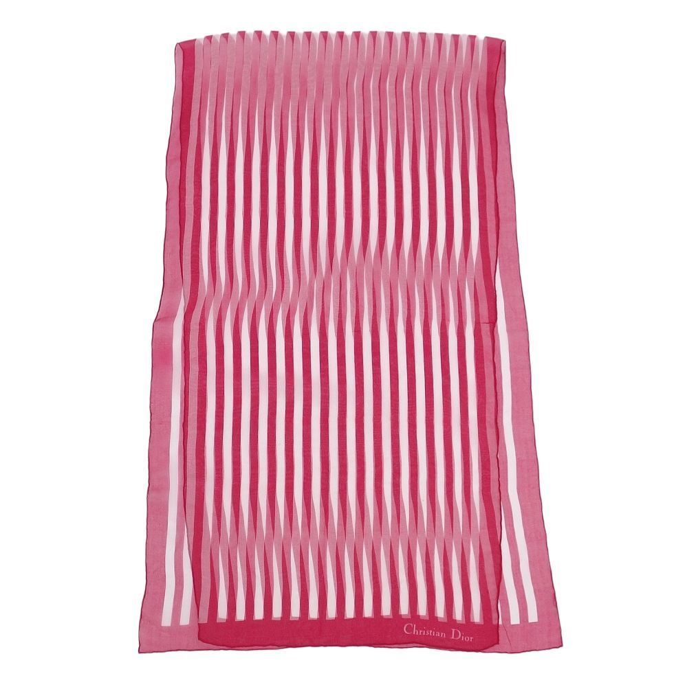 Christian Dior Stole Shawl See-Through 100% Silk Striped Women's Red White