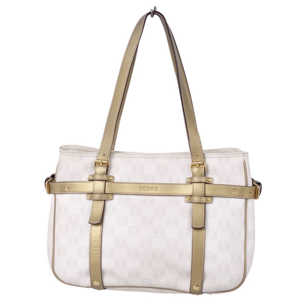 Loewe LOEWE Anagram Tote Women's White Gold Leather