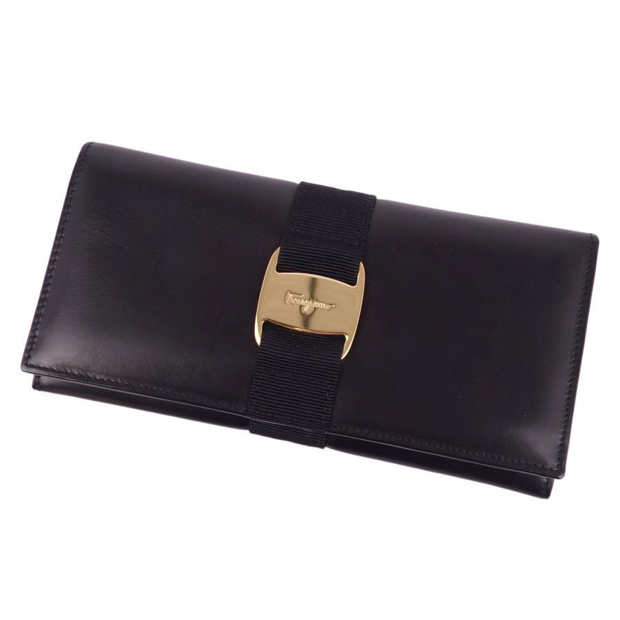 Salvatore Ferragamo Vala Long Wallet Calf Leather Women's Black