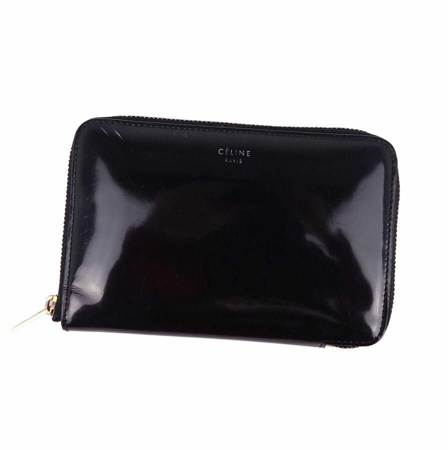Celine CELINE Round Wallet Enamel Women's Black