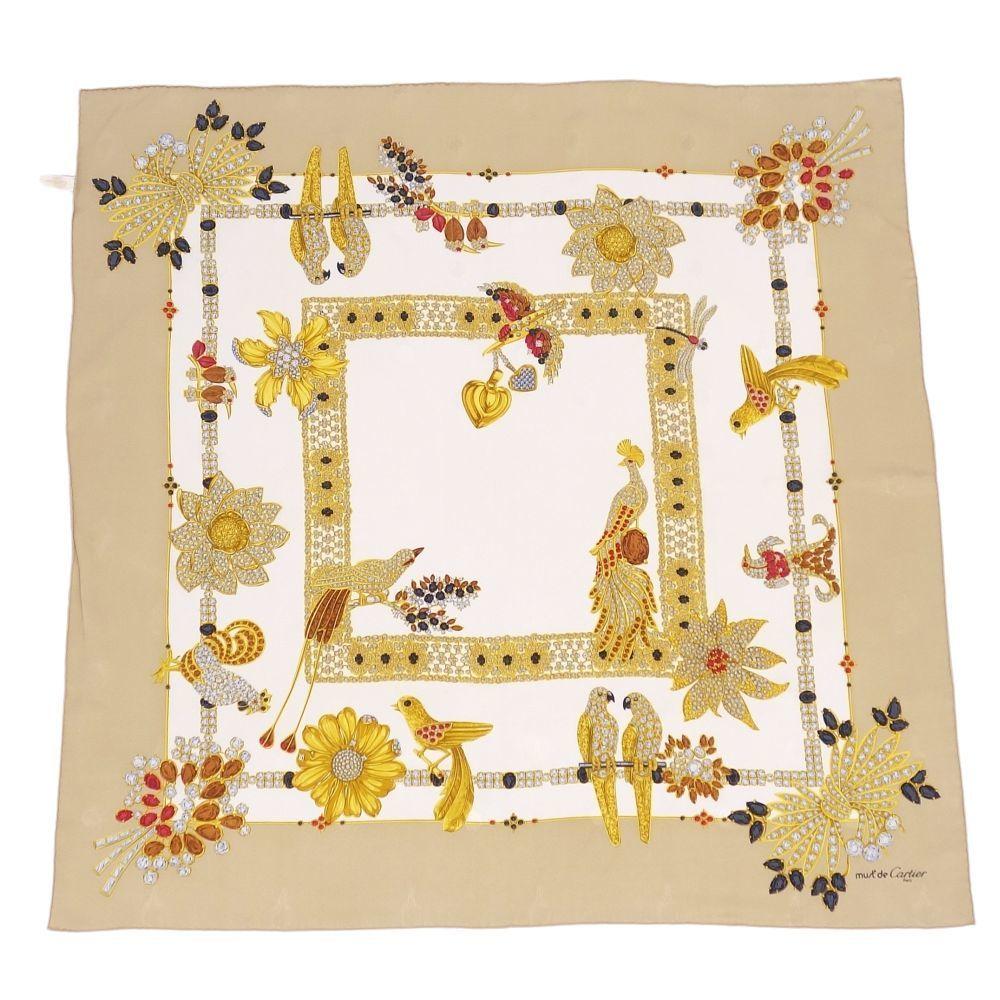 Cartier must de scarf large format 100% silk beige ladies