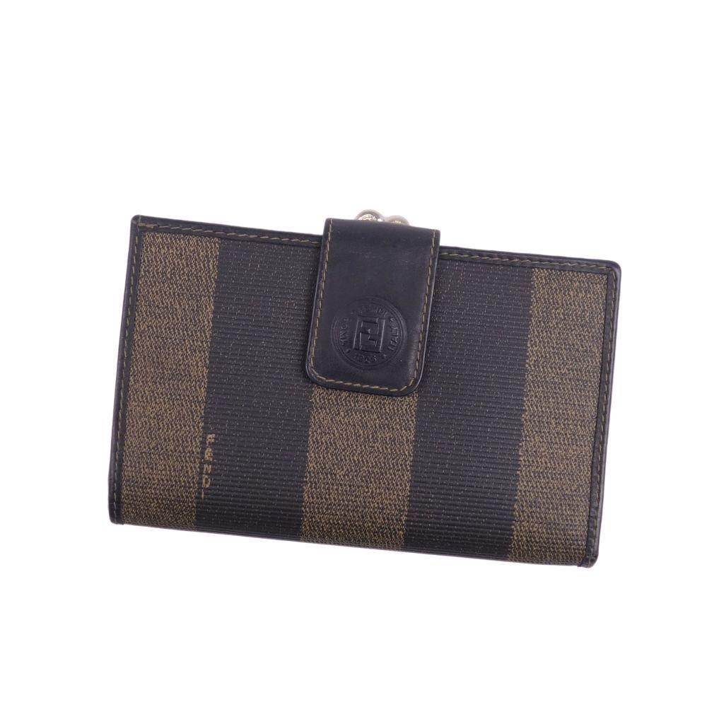 Fendi FENDI Pecan FF logo Gamaguchi bi-fold wallet leather brown ladies