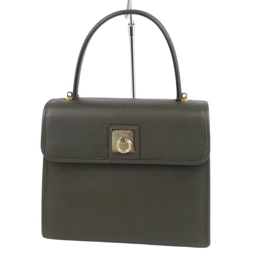 Celine CELINE Gold Hardware Calf Leather Genuine Ladies Green