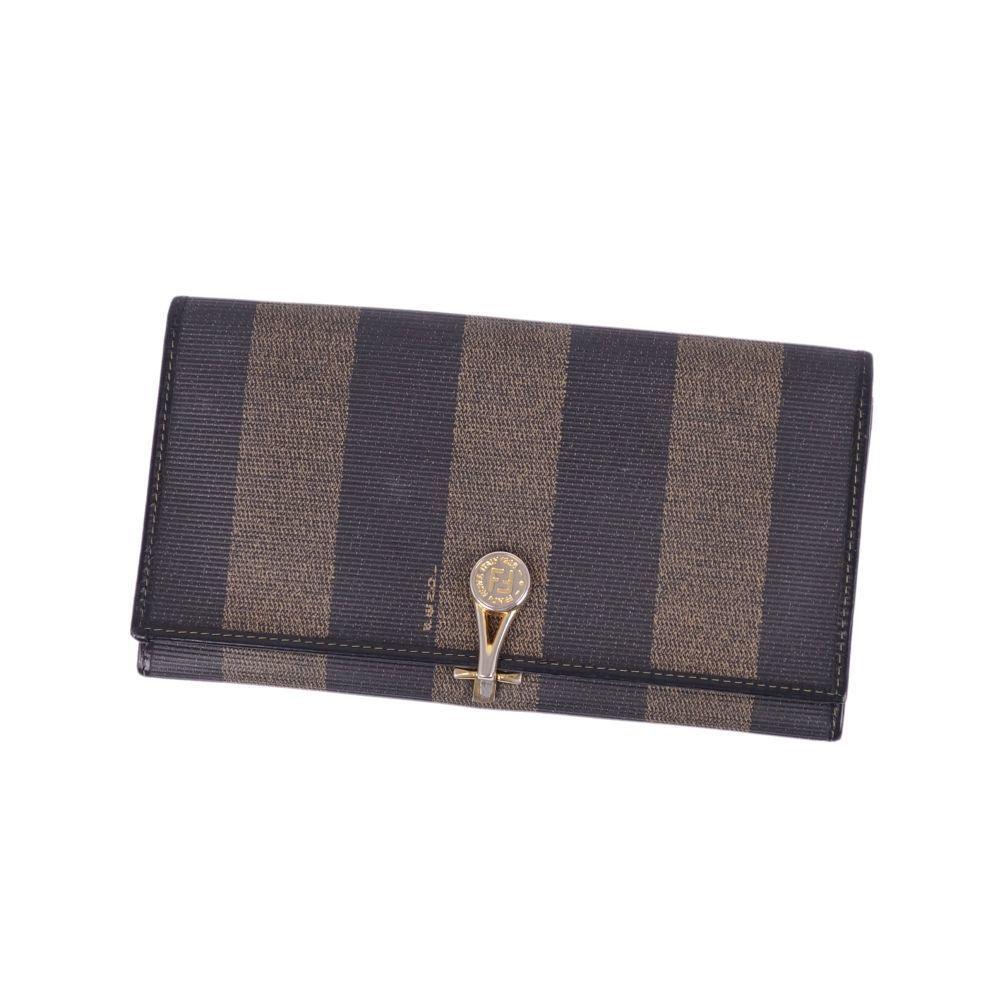 Fendi FENDI Pecan long wallet brown ladies FF logo gold metal fittings coin purse