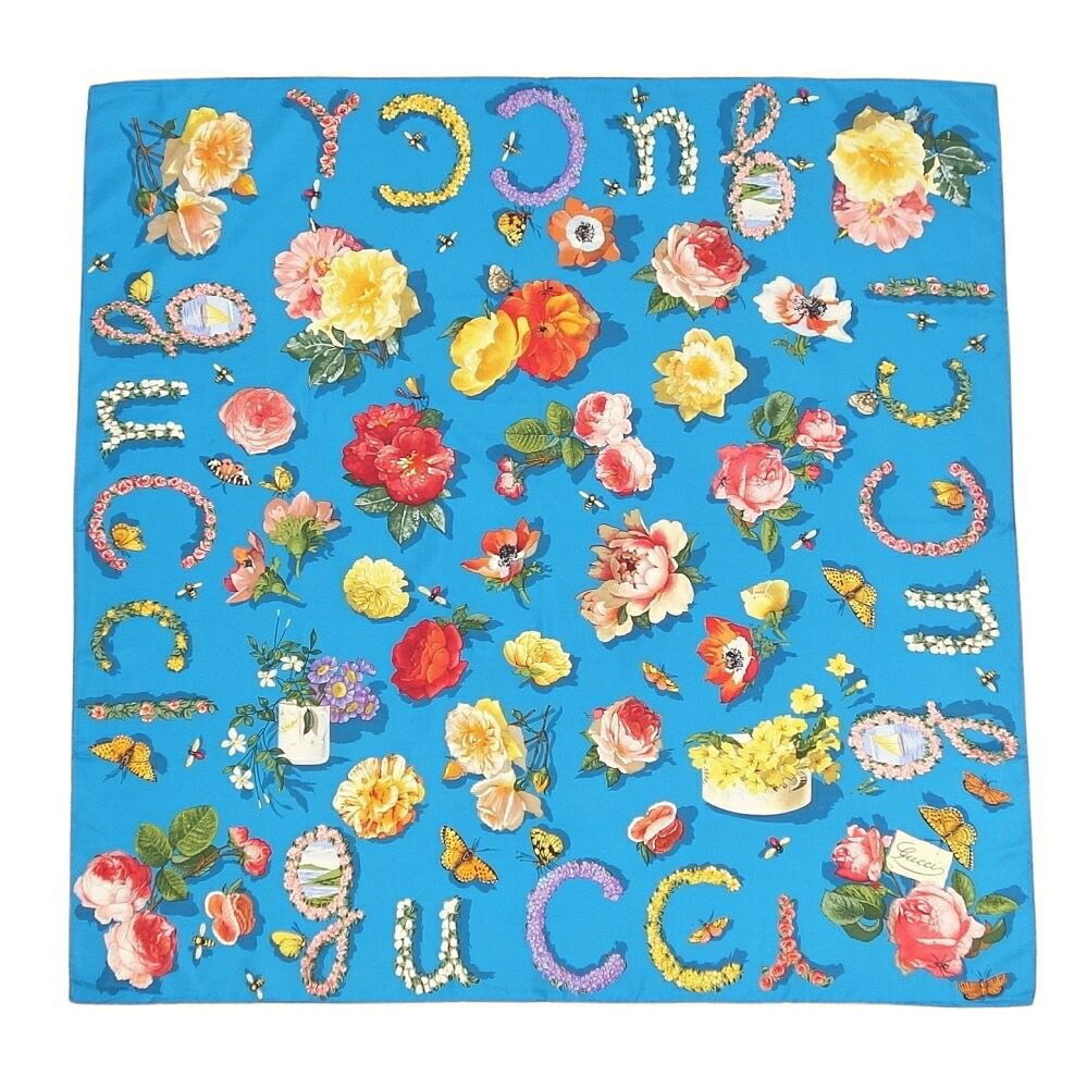 Gucci GUCCI Scarf 100% Silk Flower Insect Blue Ladies