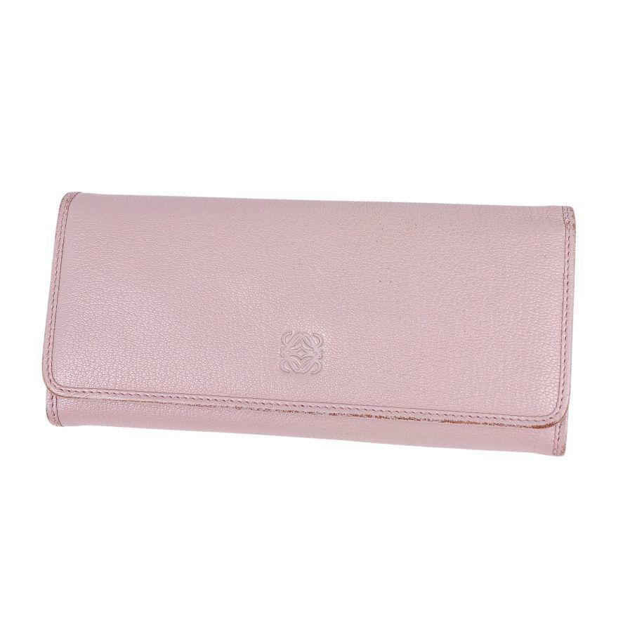 Loewe LOEWE Anagram Long Wallet Calf Leather Women's Pink