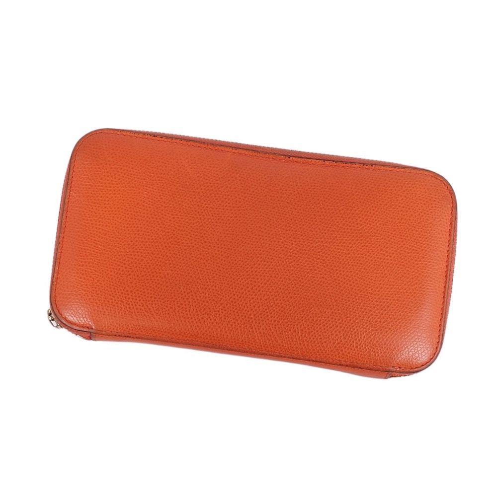 Valextra Long Wallet Round Zip Coin Purse Leather Orange Men
