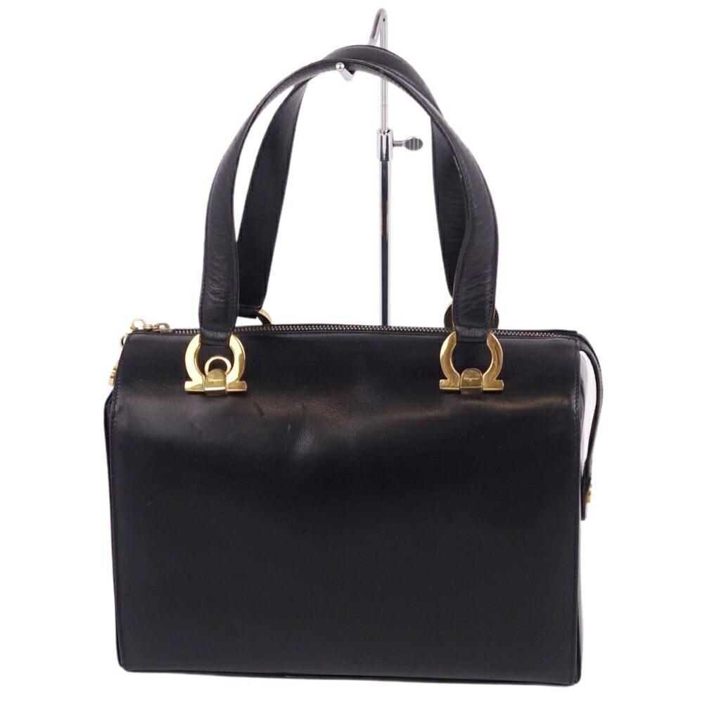 Salvatore Ferragamo Gancio Metal Fittings Mini Boston Leather Black Ladies