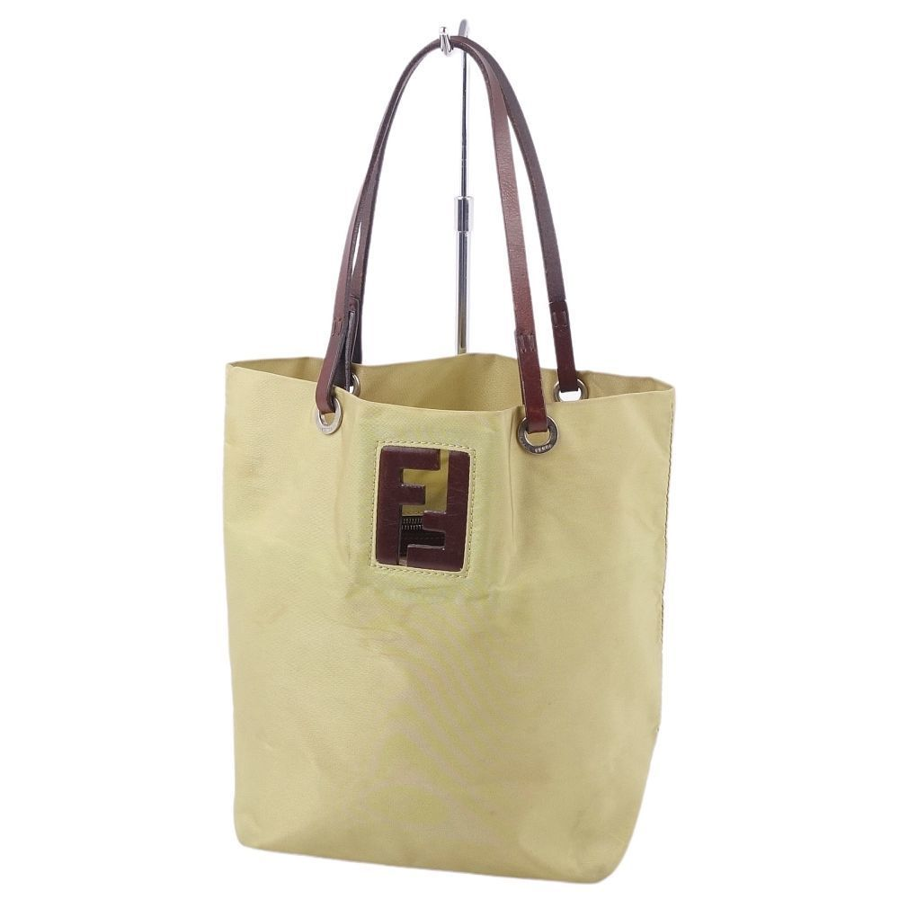 FENDI Mini Tote Ladies FF Logo Nylon Leather Beige