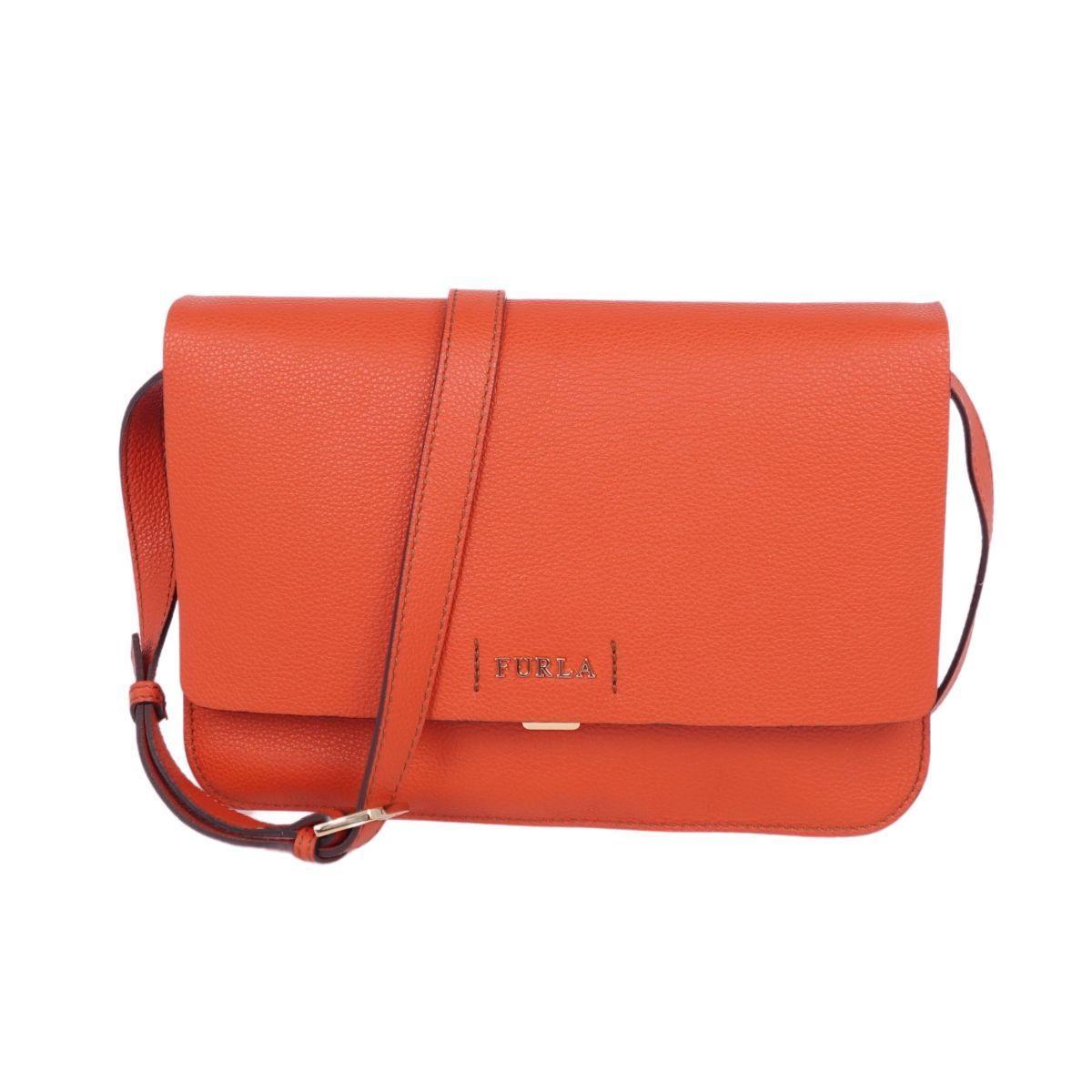 Furla FURLA Shoulder Crossbody Leather Women's Genuine Cowhide Orange