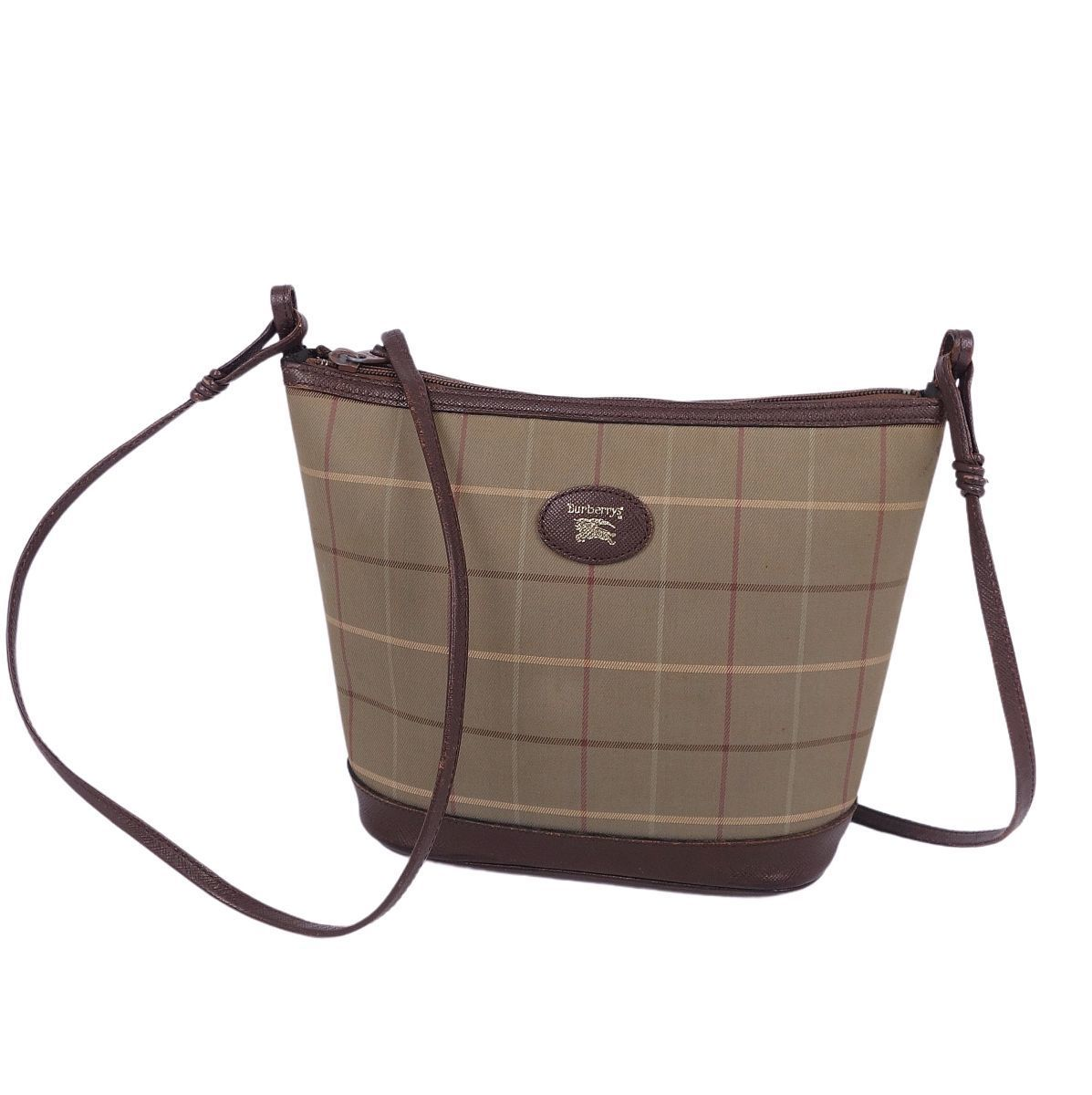 Burberry Burberrys Leather Check Shoulder Crossbody Beige / Brown