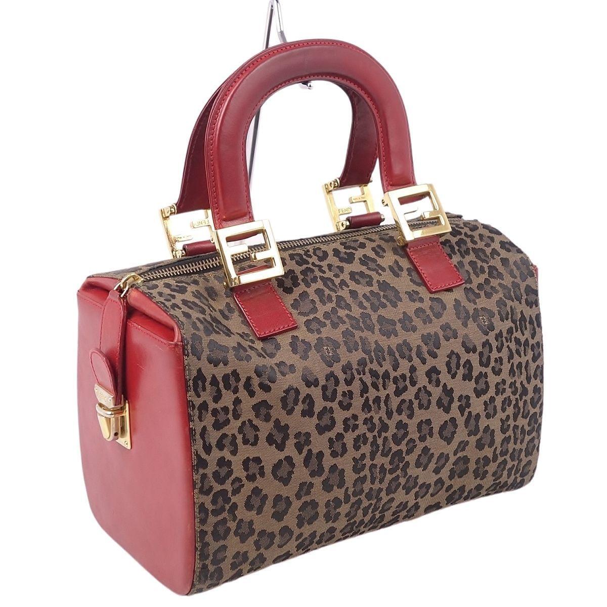 FENDI Leopard Mini Boston Ladies Leather Red / Brown