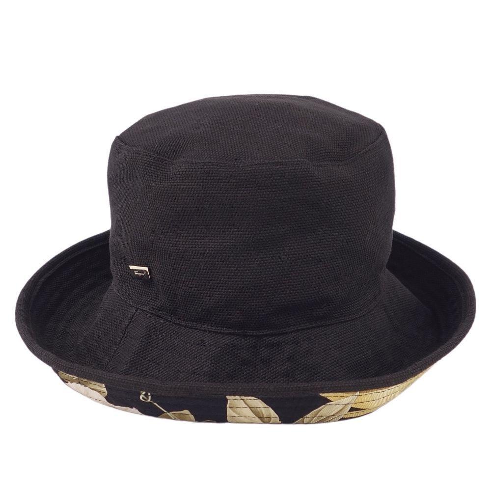 Salvatore Ferragamo Reversible Bucket Hat Silk 56 Black Ladies