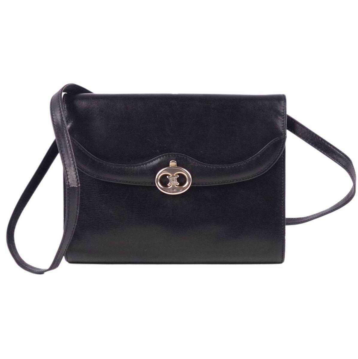 Celine CELINE Triomphe Blason Metal Fittings 2way Leather Mini Shoulder Crossbody Clutch Ladies Black