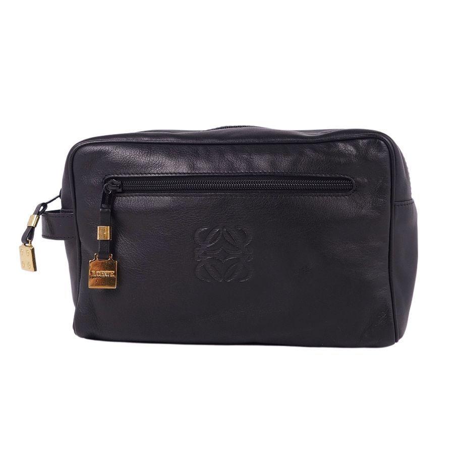 Loewe LOEWE Anagram Clutch Women's Pouch Leather Black