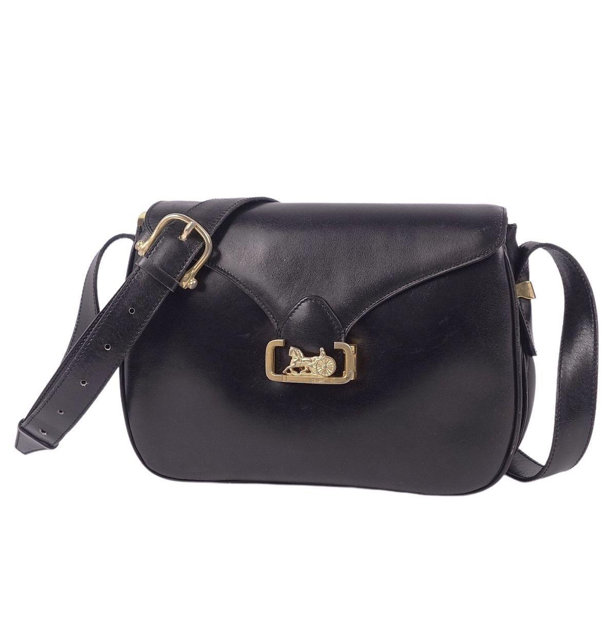 Celine CELINE carriage metal fittings smooth calf leather shoulder black / gold ladies