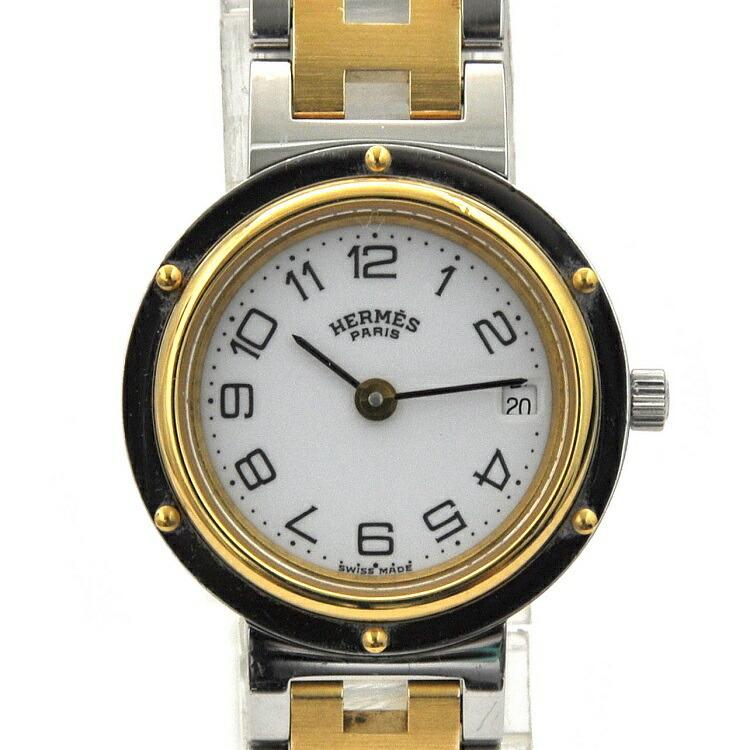 Hermes Clipper Silver Gold White CL3.240 Watch SS GP Quartz HERMES Dial Ladies QZ