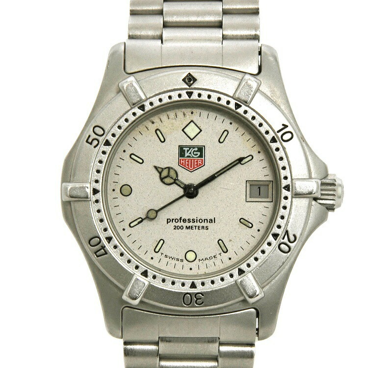 TAG Heuer Professional Silver 2000 Series 962.213 Retro Ladies SS Date 200m Water Resistant Rotating Bezel Watch