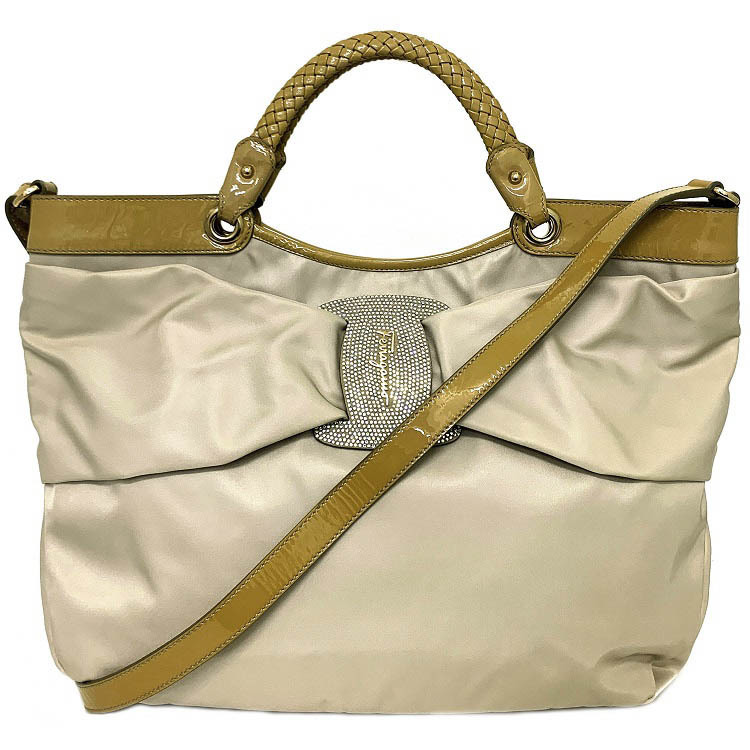 Salvatore Ferragamo Ferragamo 2way Bag Beige Vala AU-21 / C737 Tote Nylon Enamel Salvatore Shoulder Ribbon Ladies Handbag