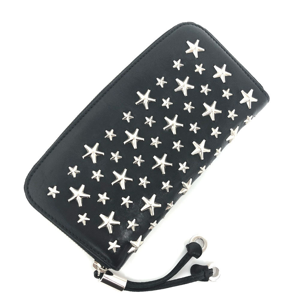 Jimmy Choo Long Wallet FILIPA Star Studs Leather Black Ladies JIMMY CHOO