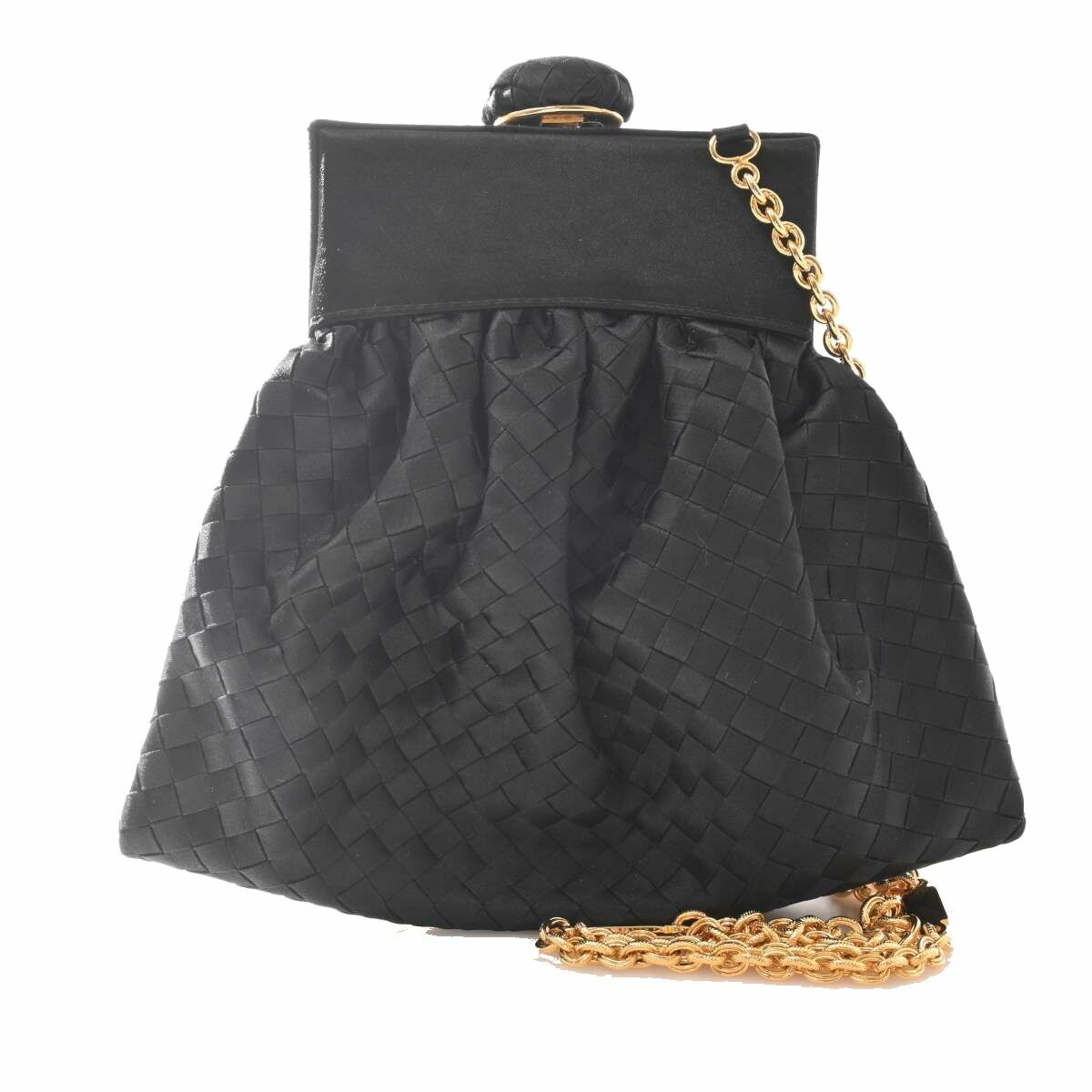Bottega Veneta Intrecciato Satin Gamaguchi Chain Shoulder Bag Leather Black