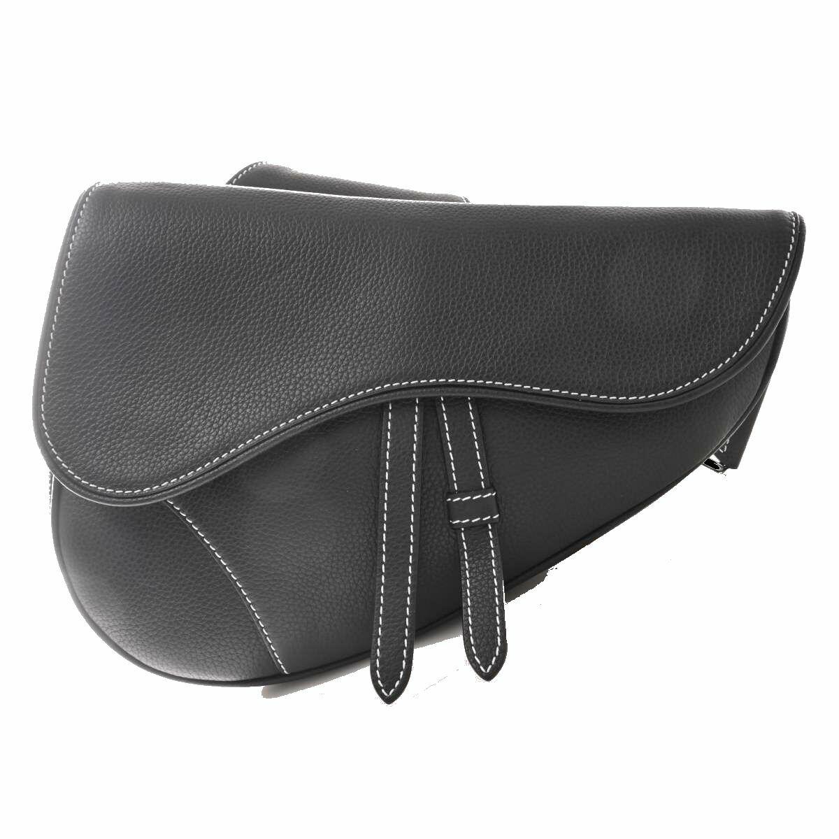 Christian Dior Leather Saddle Wes Bag Waist Black