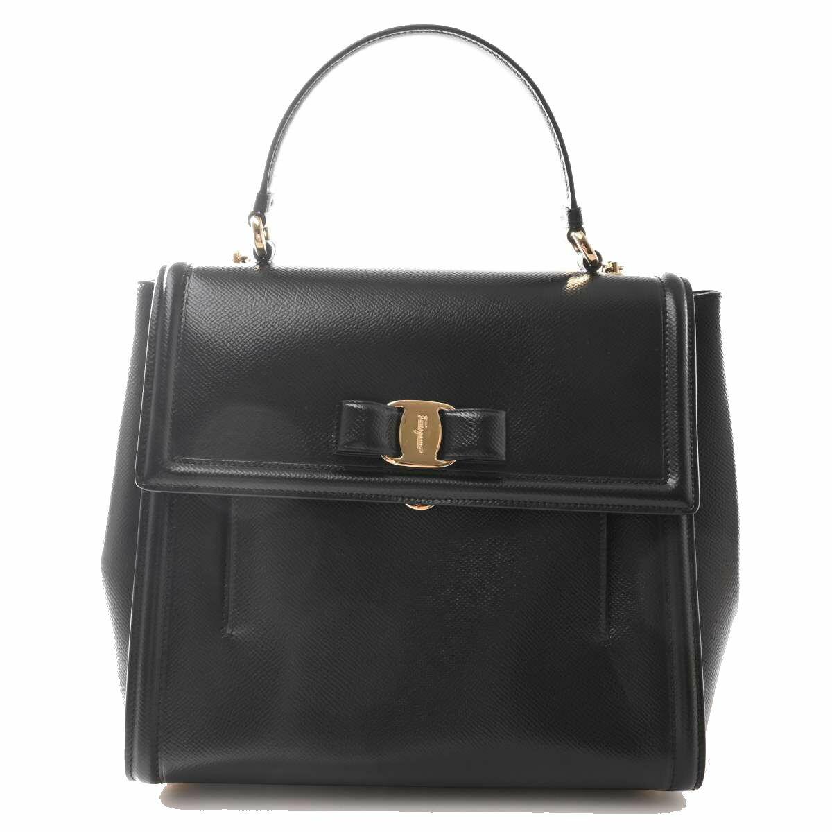 Salvatore Ferragamo Ferragamo Leather Vala Ribbon 2WAY Handbag Black