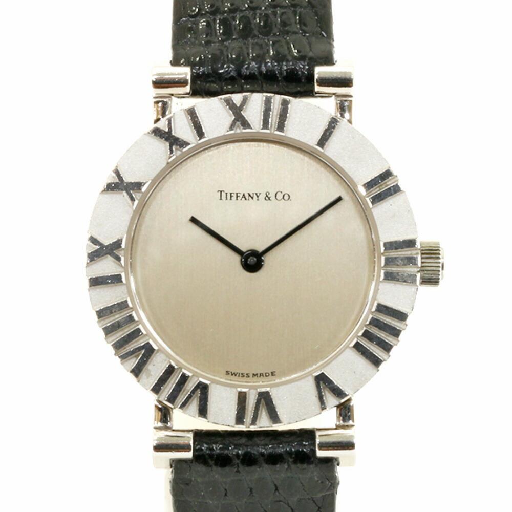 TIFFANY & Co. Tiffany SV925 Watch Atlas L0640 Silver Black Ladies 925 Leather