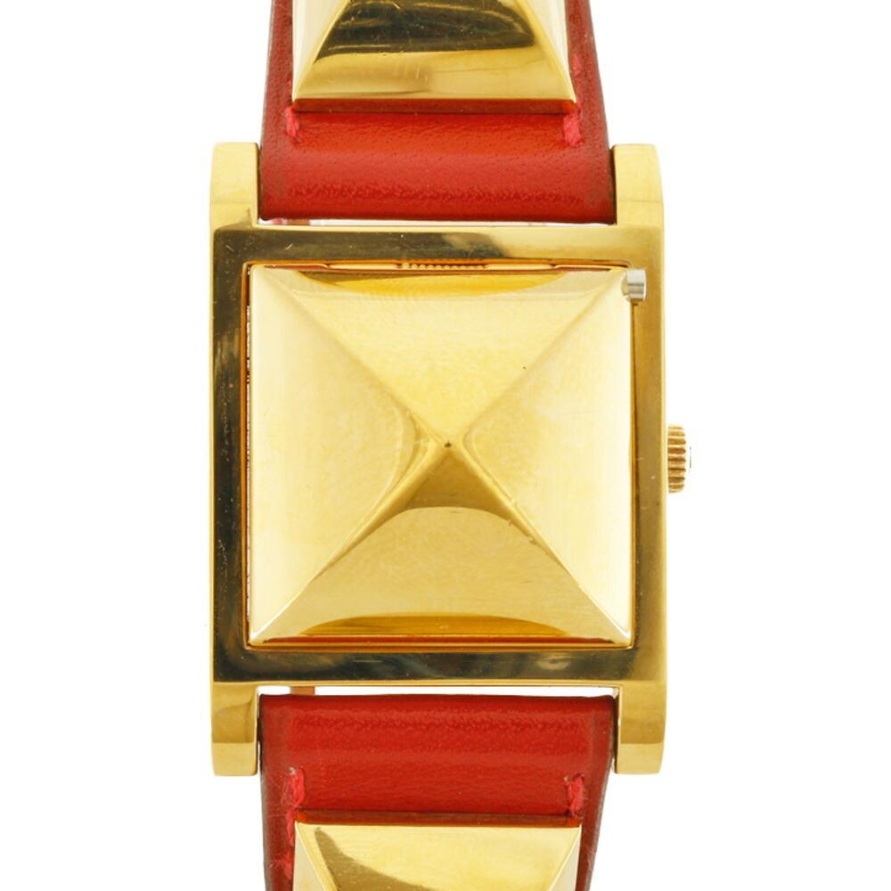 HERMES Hermes GP Watch Medor Gold Red Ladies Leather