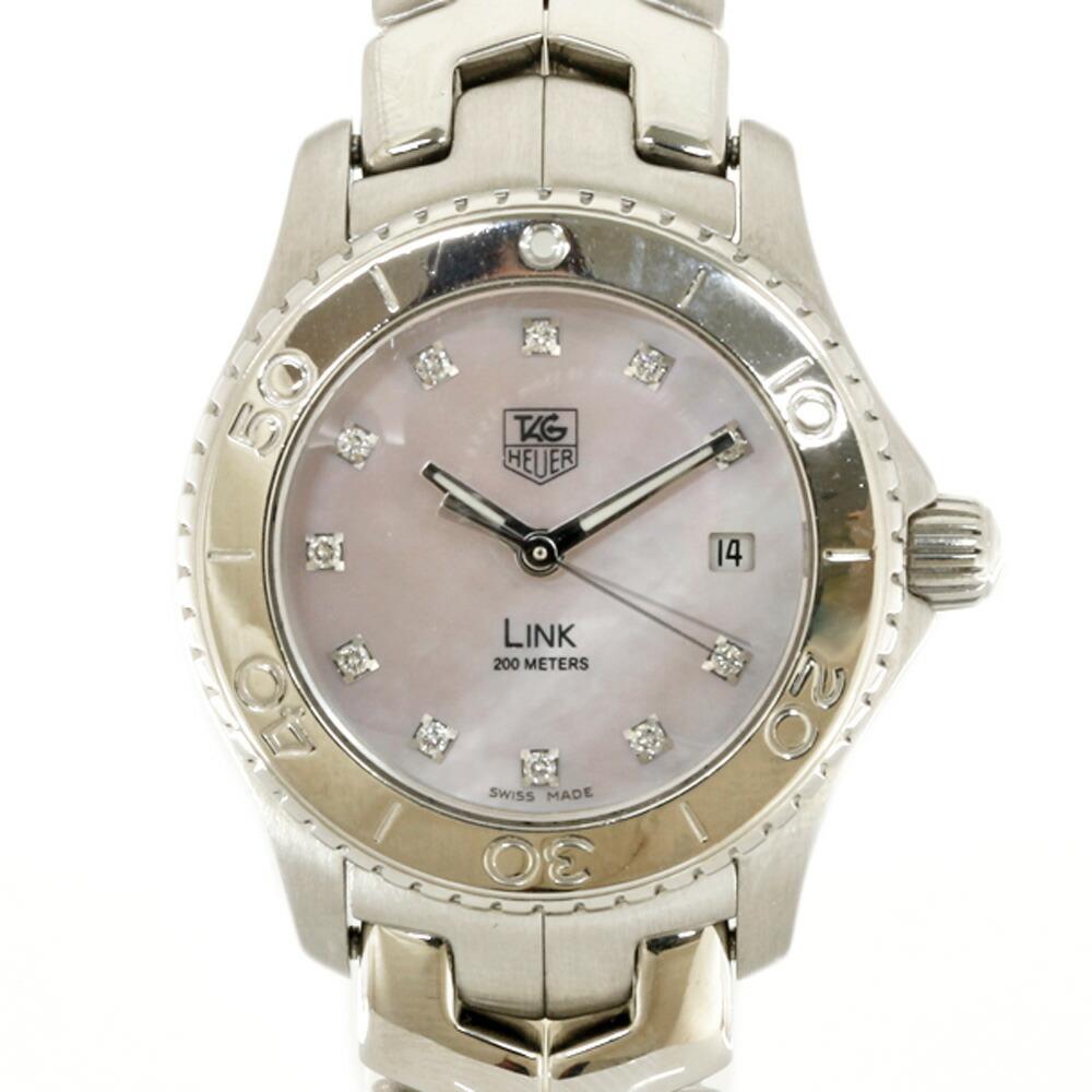 TAG HEUER SS Watch 11P Diamond Link WJ131-C Silver Pink Ladies Stainless Steel