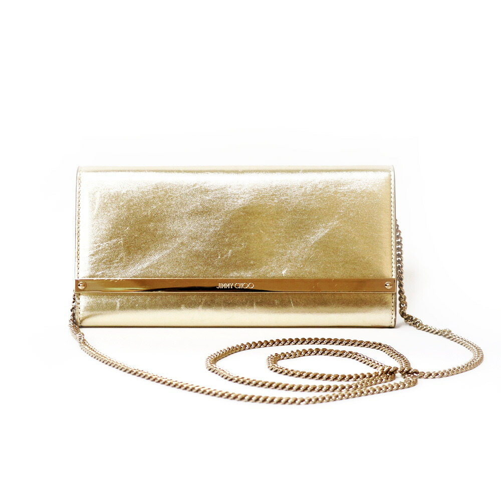 JIMMY CHOO wallet chain bag shoulder gold ladies leather canvas