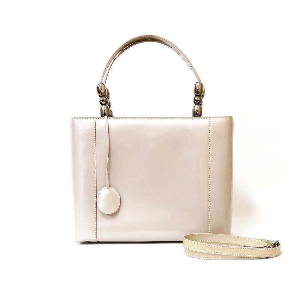 Christian Dior Dior Handbag Christian CD Gunmetal Maris Pearl Gray Rose Ladies Patent Leather